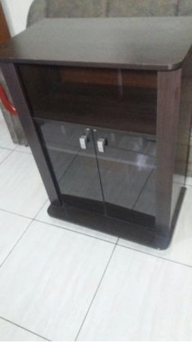 rack imbuia duas portas vidro