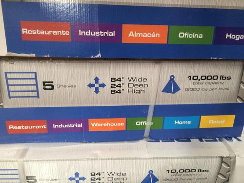 rack industrial 5 repisas estante acero con rejilla remate!!