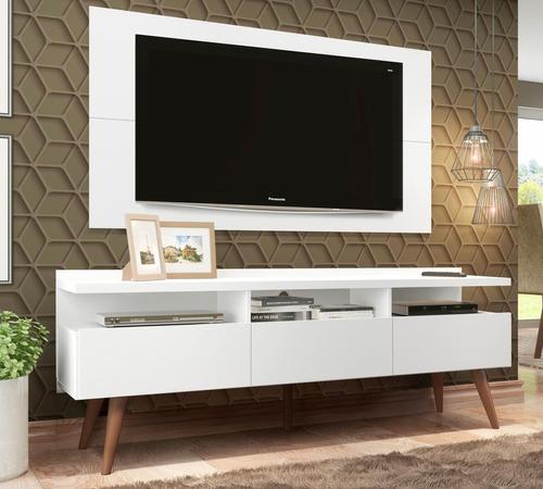 rack londres e painel para tv sala de estar madesa