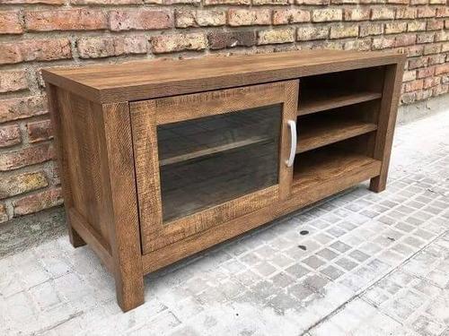 rack mesa tv con puerta de vidrio