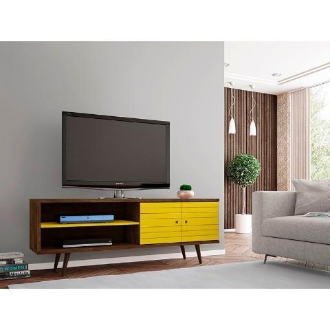 rack onix madera azul tv 32 a 55  - ikean
