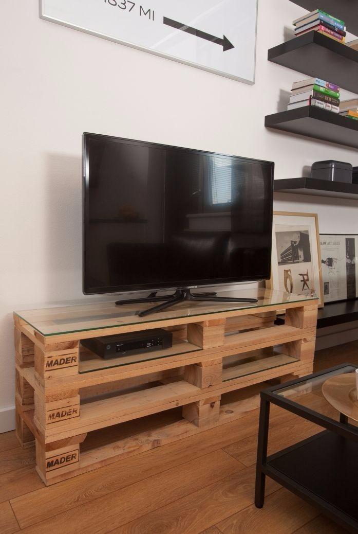 Rack painel em pallet sala para televis o r 249 00 em - Como hacer un mueble para tv ...