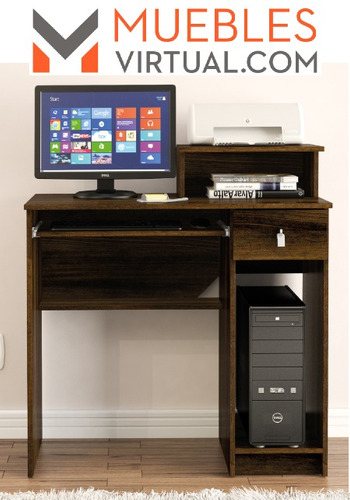 rack para pc escritorio con espacio para impresora y cajon