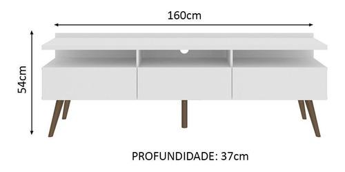 rack para tv até 65 polegadas madesa londres com pés retro