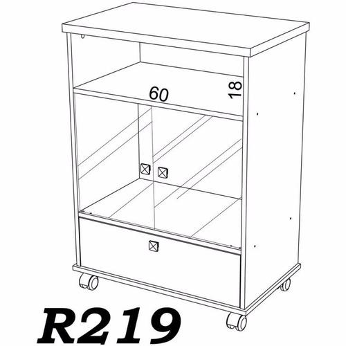 rack para tv com rodízio e portas de vidro dalla costa r219
