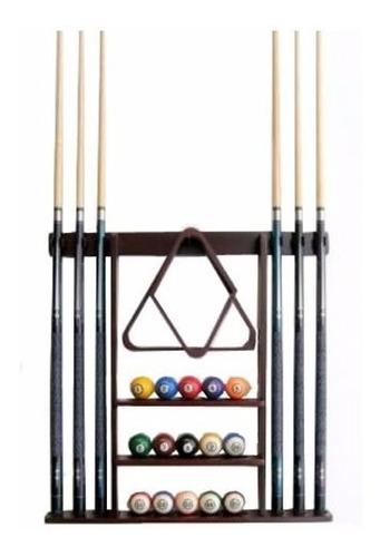 rack perchero para 6 tacos bolas triangulo de billar