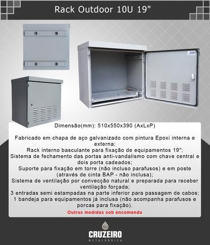 rack quadro outdoor telecom provedor 10u 19  externo
