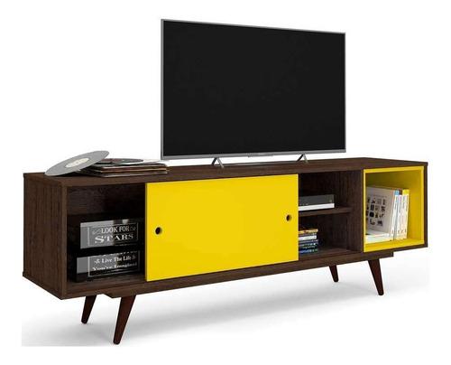 rack retrô goslar rustik carvalho e amarelo 162 cm