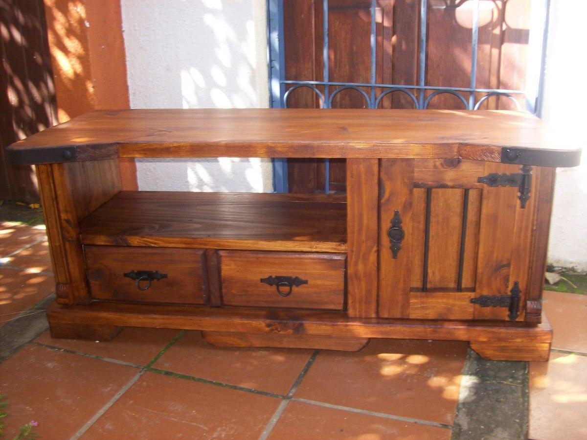Rack rustico artesanal 2 cajones y puerta madera maciza en mercado libre - Muebles rusticos para tv ...