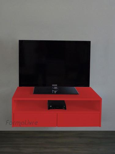 rack suspenso tv bancada nicho gaveta sala vermelho laqueado