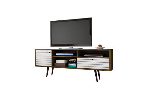 rack tv estilo retro esmeralda cor madeira rústica/branco