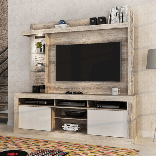 rack tv - home maracá - castanha rústico, mueble