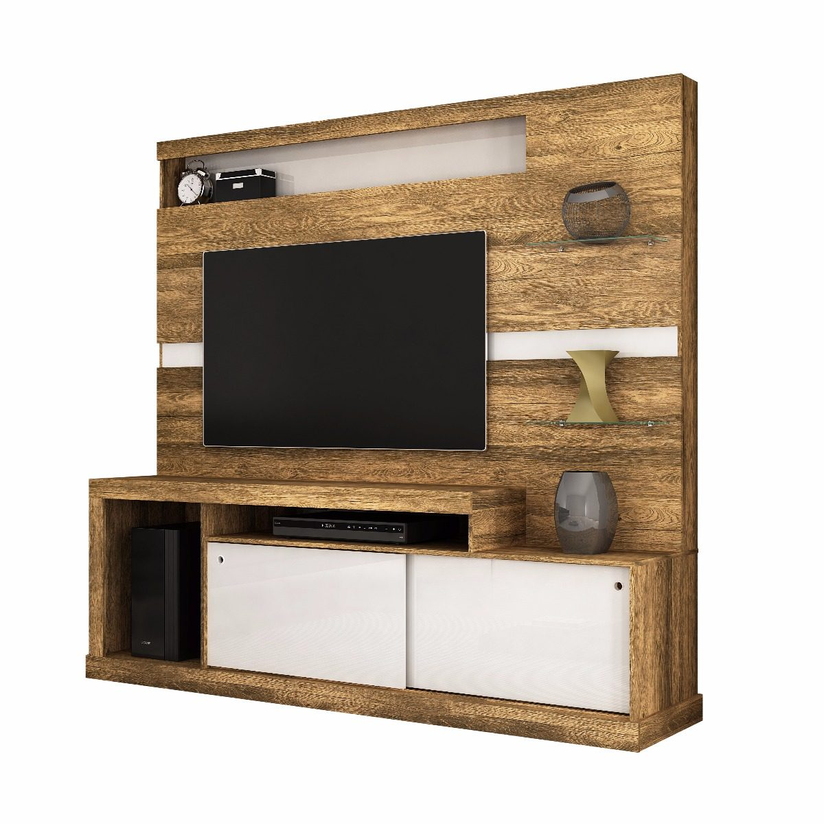 Rack Tv Home Porto Canela Rustico Branco Mueble 109 990  # Muebles Rack Para Tv