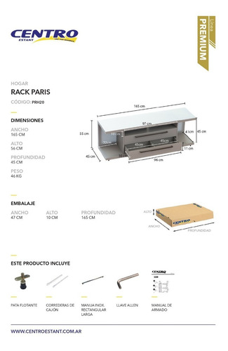 rack tv led sala de estar paris - centro estant premium prh20 - envio gratis a caba y gba