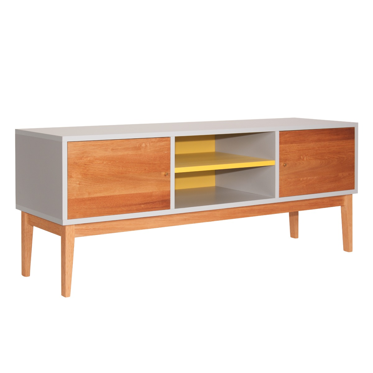 Rack tv madera dise o amarillo montte muebles aparador led for Muebles usados montevideo
