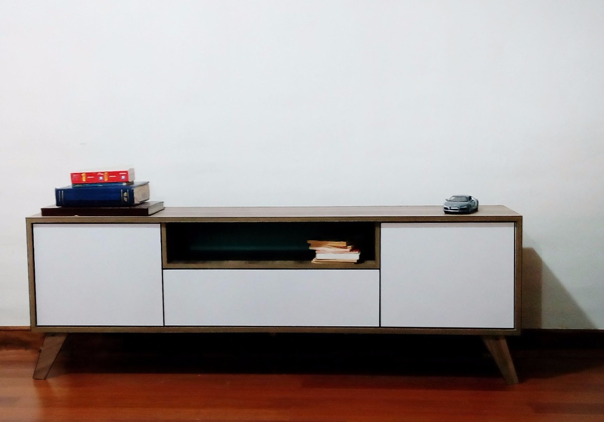 Rack tv olmo pardo blanco en mercado libre for Muebles vintage chile