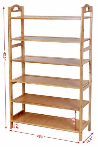 Rack zapatera de madera de bambu 6 niveles organiza 24 for Zapateras de madera medidas