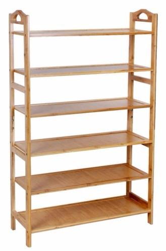 Rack zapatera de madera de bambu 6 niveles organiza 24 for Como hacer una zapatera de madera