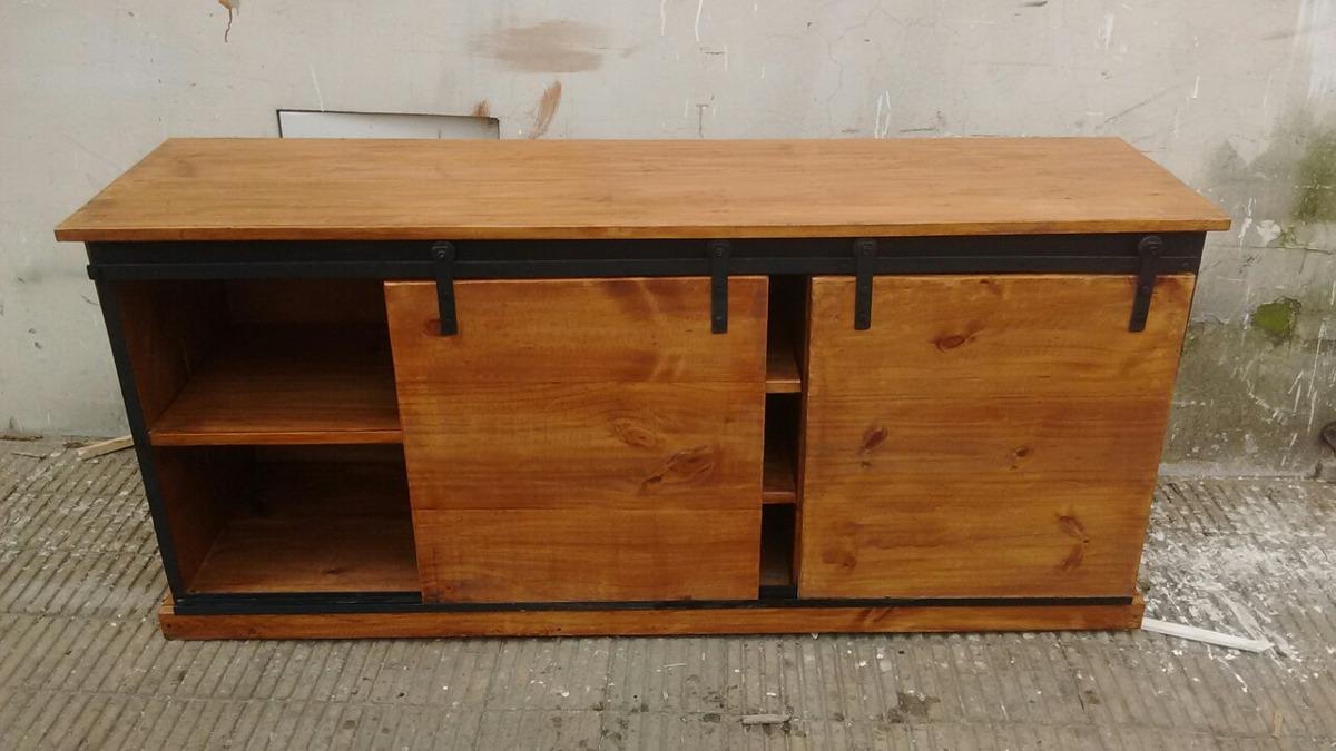 Rack,mueble Bajo Lcd,puerta Granero - $ 6.400,00 en Mercado Libre