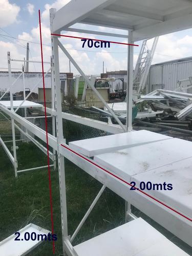 racks inicial 2 entrepaños con charola 200x70x200 anaqueles