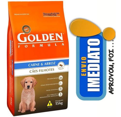 ração golden cães filhotes carne e arroz 15kg