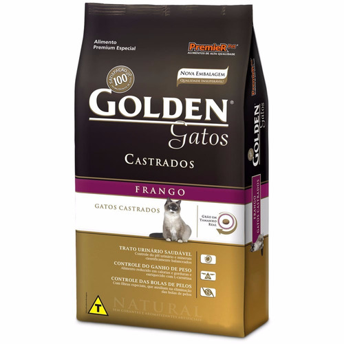 ração golden gatos adultos castrados frango 10,1 kg