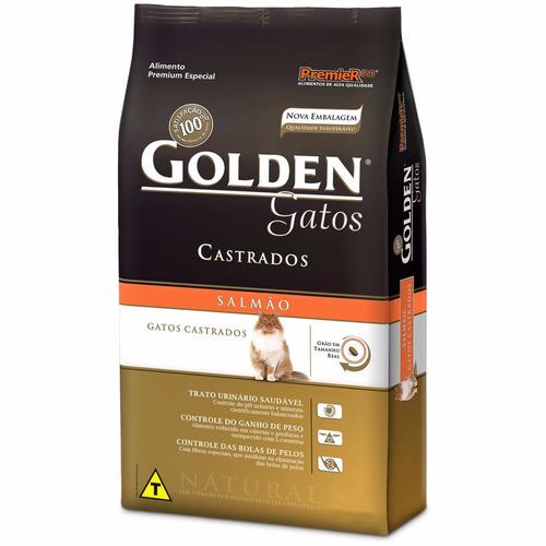 ração golden gatos adultos castrados salmão 11 kg  brindes