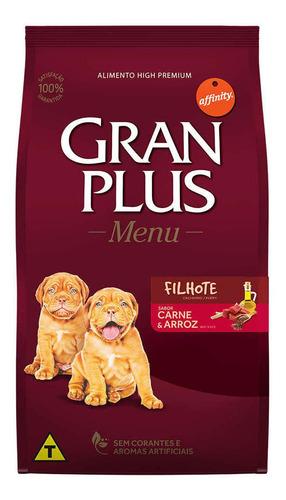 ração gran plus menu cães filhotes carne e arroz 15kg