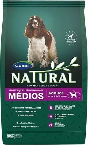 ração guabi natural paral cães adultos porte médio 15 kg