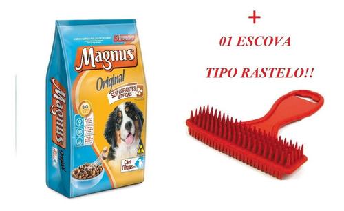 ração magnus premium original filhotes 15kg + escova rastelo
