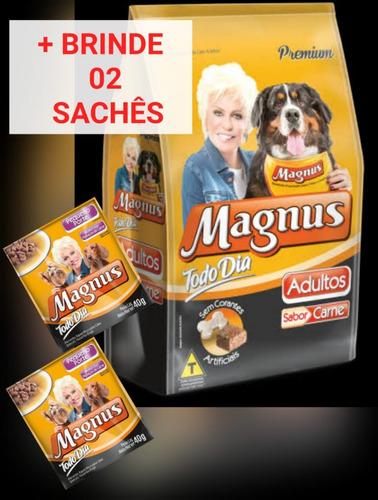 ração magnus todo dia 25kg sabor carne cães adulto + brinde