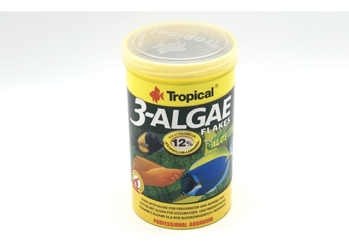 ração para peixe tropical 3-algae flakes 200g