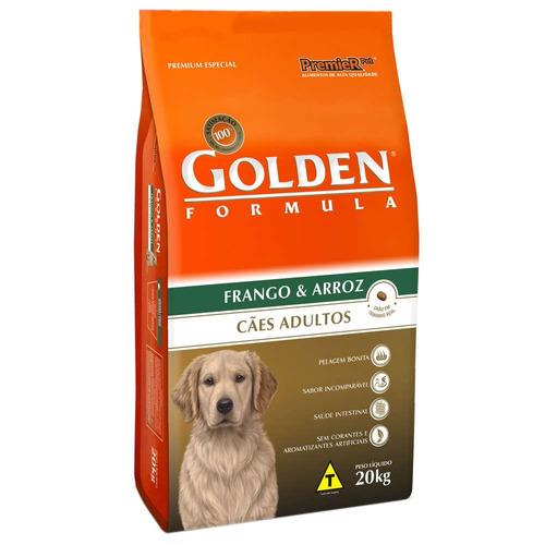 ração premier golden cães adulto frango e arroz 20kg