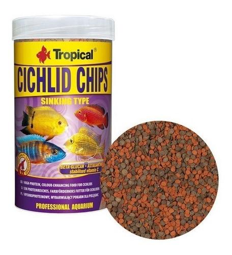 ração tropical cichlid chips 130g - pet hobby