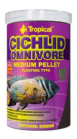 ração tropical cichlid omnivore medium pellet 180g