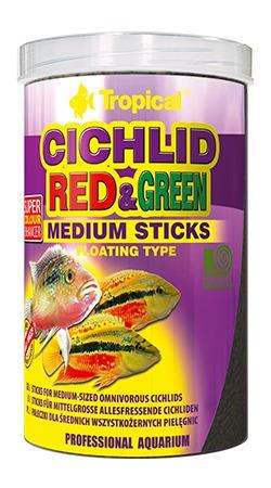 ração tropical cichlid red & green medium sticks 90g