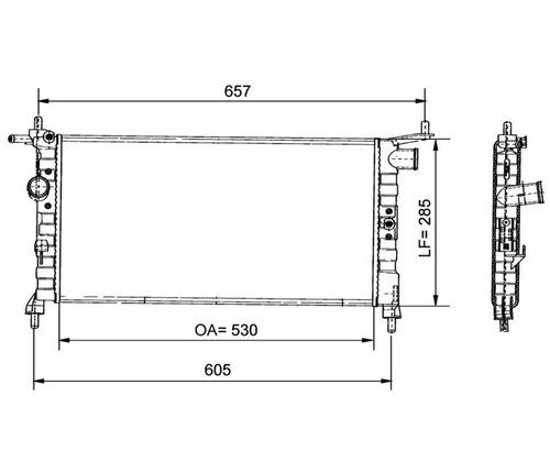 radiador corsa 1.0 8v wind 94 95 96 97 98 99 00 01 02 sem ar