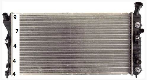 radiador de chevrolet impala 3.4l y 3.8l v6 2000 - 2003