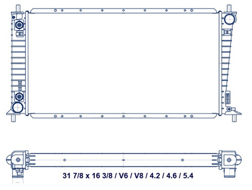 radiador ford f-150 / f-250 1997 - 1999 v6/v8 4.2/4.6l rxc