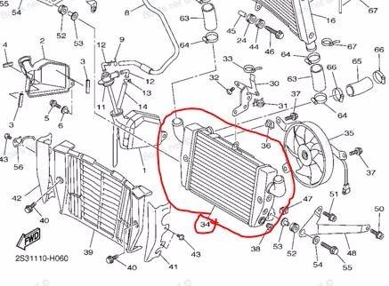 radiador inferior yamaha v-max 1700 09/13 original solomoto