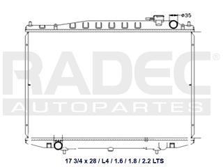 radiador nissan d22 2011 l4 1.6/1.8/2.2i lts diesel std