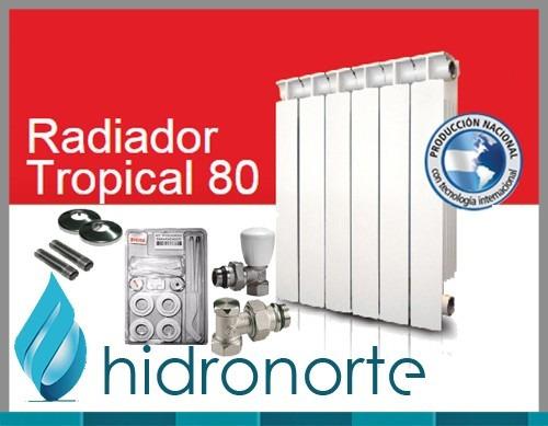 radiador peisa t500 7 elementos + kit de instalación