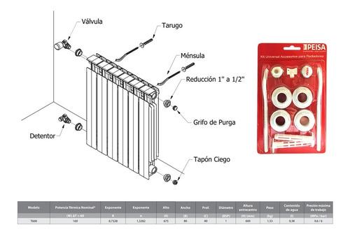 radiador peisa t600/80 x 1 elemento