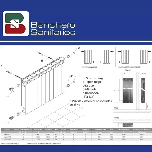 radiador peisa tropical t500/80 12 elementos+kit instalación