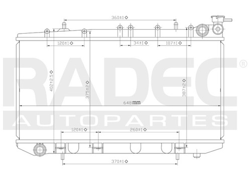 radiador  tsuru iii 92-11 l4 1.6/2.0 lts 1 hilera 5.8 estand