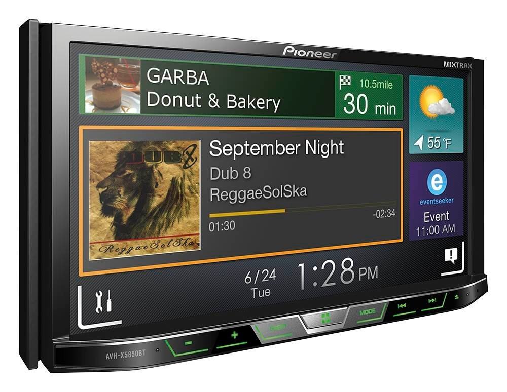 radio 2 din pioneer avhx5850bt dvd bt cd usb app spotify 7. Black Bedroom Furniture Sets. Home Design Ideas