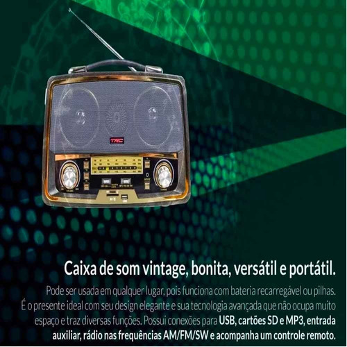 radio am fm caixa de som retrô bluetooth portátil 35w