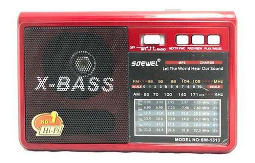 radio am fm recargable usb sd x bass sw 1313