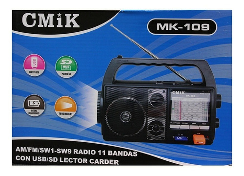 radio am fm reproductor mp3 usb sd linterna parlante mk109