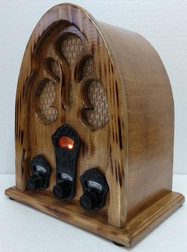 rádio antigo capelinha usb imbuia